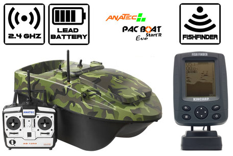 Anatec Pacboat Start'R Evo Forest Camo met Navic Black and White Fishfinder