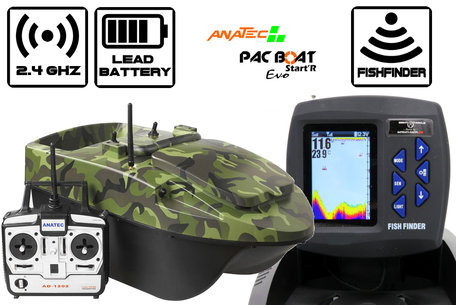 Anatec Pacboat Start'R Evo Forest Camo met Sight Tackle Kleuren Fishfinder