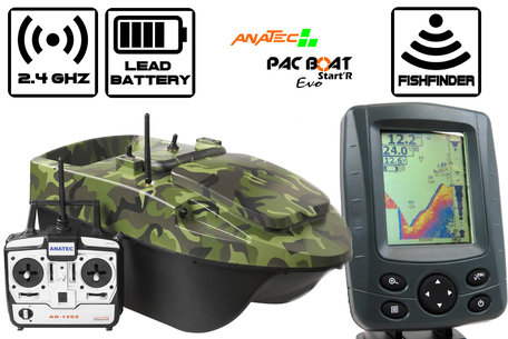 Anatec Pacboat Start'R Evo Forest Camo met Sight Tackle SK500 Kleuren Fishfinder